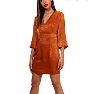 Flo Wide Sleeve Satin Tie Detail Shift Dress